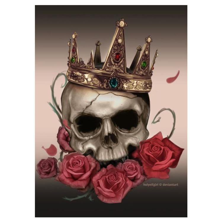 Diamanttavla (R) Rose Crown Skull 40x50