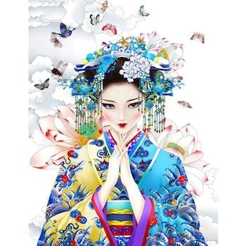 Diamanttavla Geisha Butterflies 50x70