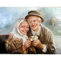 Diamanttavla Old Couple Love 40x50