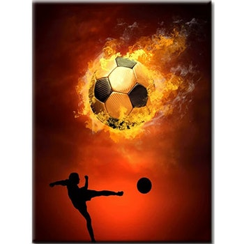 Diamanttavla Fotboll Flamma 40x50