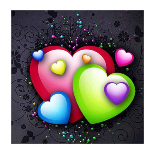 Diamanttavla (R) Hearts 30x30