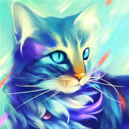 Diamanttavla Cat Blue 30x30 - Leveranstid 1-3 Dagar