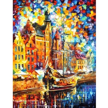 Diamanttavla Colorful Ship 50x70