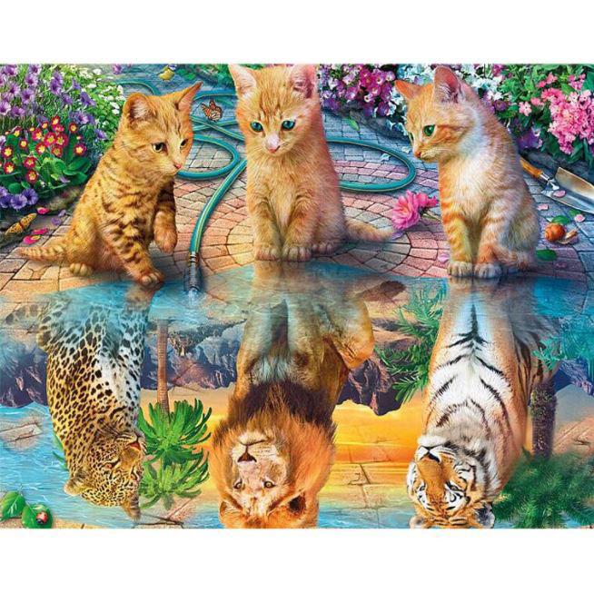 Diamanttavla Cute Kittens Big Cats 60x80