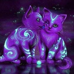 Diamanttavla Purple Neon Kittens 30x30