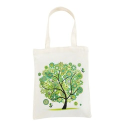 Diamanttavla Canvasväska Green Tree 35x30 - Leveransdag 1-3 Dagar