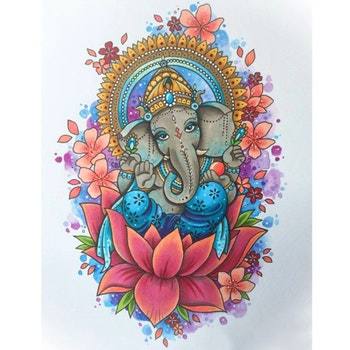 Diamanttavla Ganesha Flowers 40x50