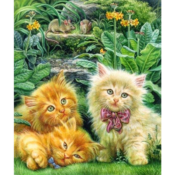 Diamanttavla Three Cats 50x70