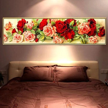 Diamanttavla Pink And Red Roses 60x180