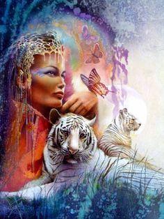 Diamanttavla White Tigers And Beauty 50x70 Leveranstid 1-3 Dagar