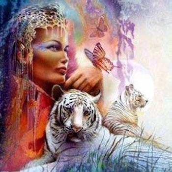Diamanttavla White Tigers And Beauty 50x70