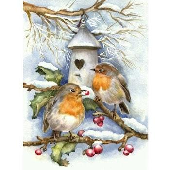 Diamanttavla Berry Winterbirds 40x50