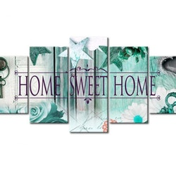 Diamanttavla 5 Delad Home Sweet Home Green