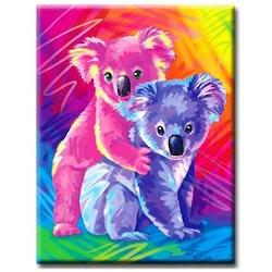 Diamanttavla Colorful Koalas 30x40