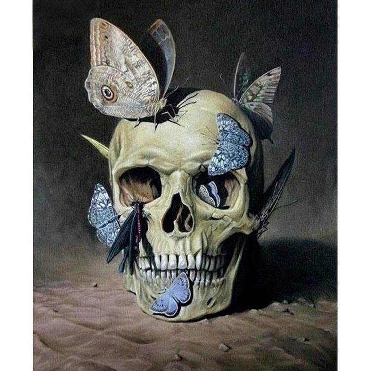Diamanttavla Butterfly Skull 40x50