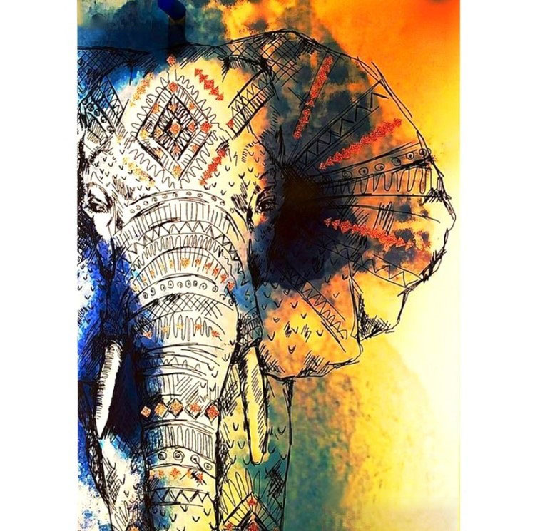Diamanttavla Elephant Cartoon 50x70 - Leverenstid 1-3 Dagar