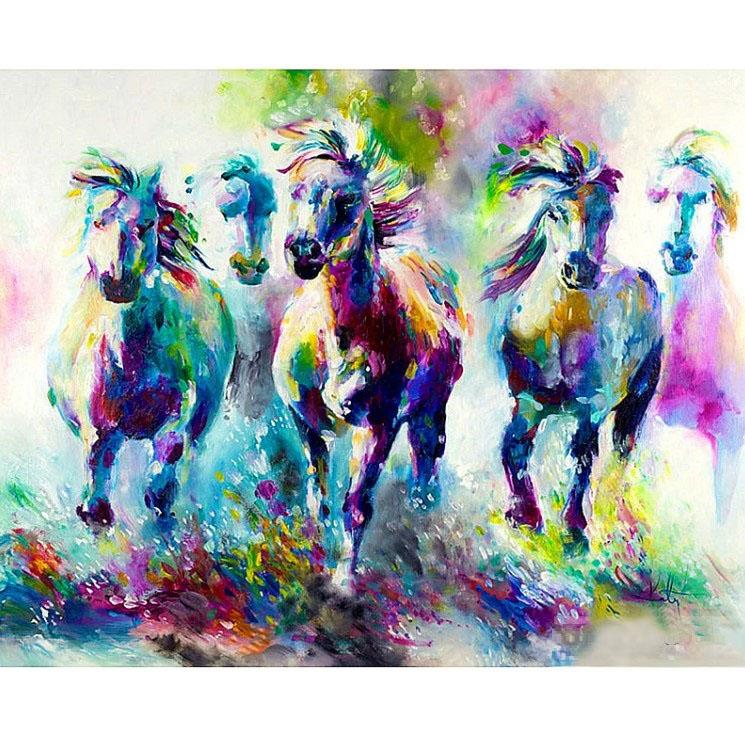 Diamanttavla Watercolor Horses 70x90 - Leveranstid 1-3 Dagar
