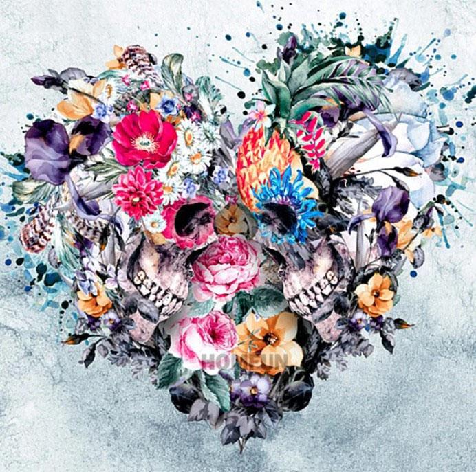 Diamanttavla Skull Flower Love 50x50