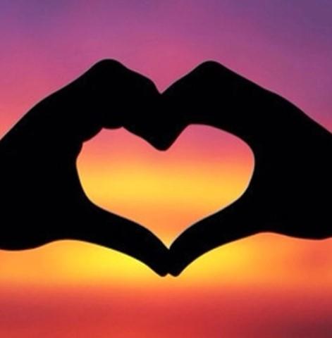 Diamanttavla Sunset Heart 30x30
