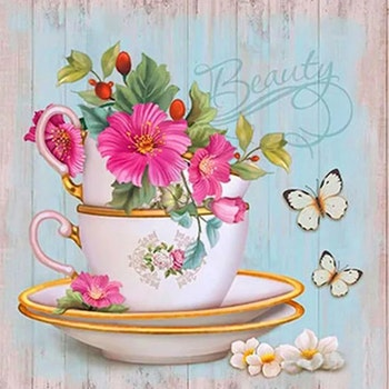 Diamanttavla Flower Teacup 40x40