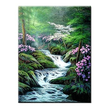 Diamanttavla Magic Forest Waterfall 50x70
