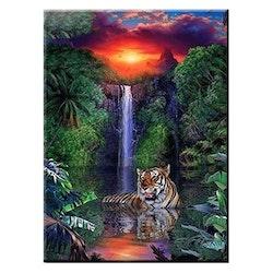 Diamanttavla Tiger Waterfall 60x80