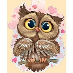 Diamanttavla Cute Owl Hearts 40x50
