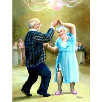 Diamanttavla Dancing Old Couple 50x70