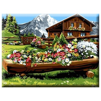 Paint By Numbers Mountain Cabin Garden 40x50
