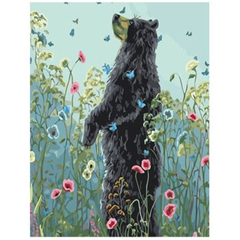 Paint By Numbers Bear And Flowers 40x50