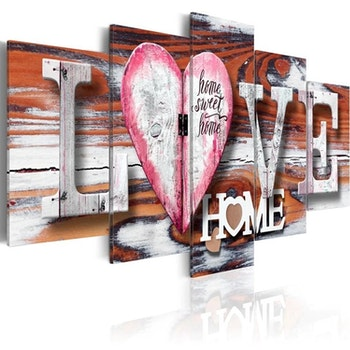 Diamanttavla 5 Delad Love Home