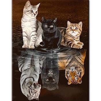 Diamanttavla Cats Big And Small 50x70