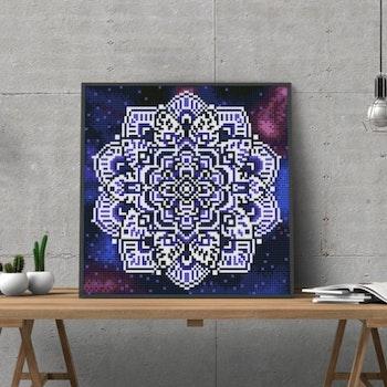 Diamanttavla Självlysande Mandala 25x25
