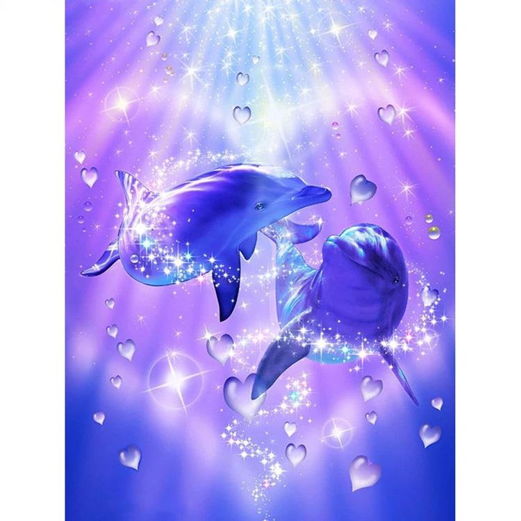 Diamanttavla Dolphins Hearts 40x50