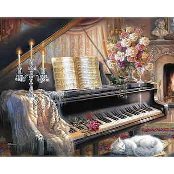 Diamanttavla Katt Vid Piano 50x70