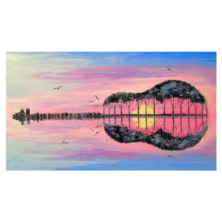 Diamanttavla Guitar Landscape 50x70