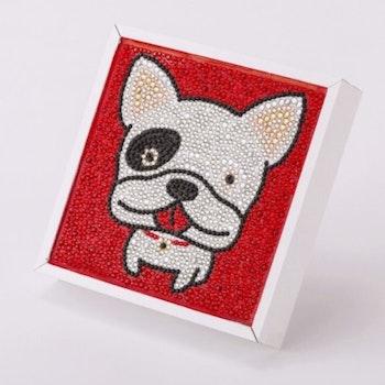 Diamanttavla Rhinestones Hund 15x15 ( Ram ingår ej)