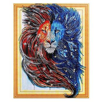 Diamanttavla Special Lion Blue And Red 40x50