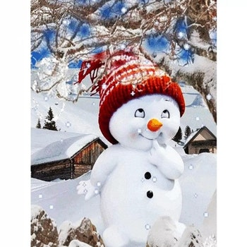 Diamanttavla Little Snowman 40x50