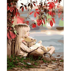 Paint By Numbers Girl And Teddybear 40x50