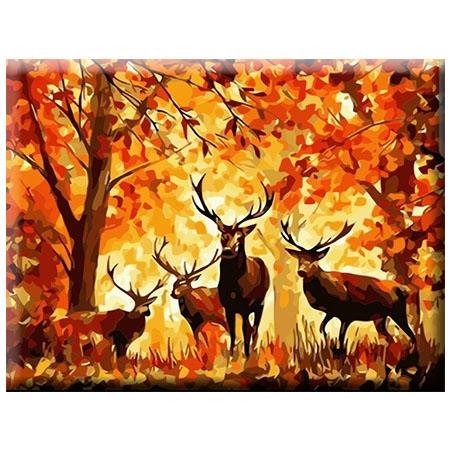 Paint By Numbers Deers In Autum Wood 40x50