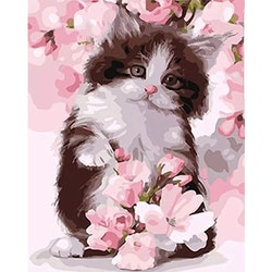 Paint By Number Flowertree Cat 40x50