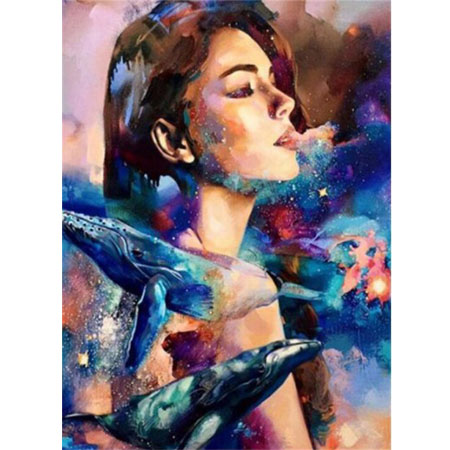 Diamanttavla Beauty And Whales 40x50