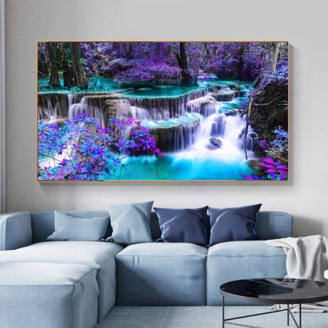 Diamanttavla Purple Waterfall 50x100