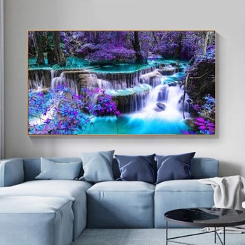 Diamanttavla Purple Waterfall 50x100 - Leveranstid 1-3 Dagar