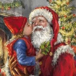 Diamanttavla Santa With Girl 40x50