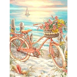 Diamanttavla Cykel Vid Havet 40x50