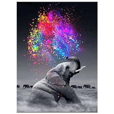 Diamanttavla Elephant Color 40x50 - Leveranstid 1-3 Dagar