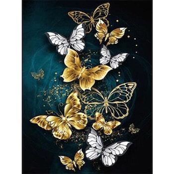 Diamanttavla Gyllene Fjärilar 40x50