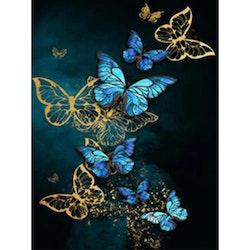 Diamanttavla Golden And Blue Butterflies 40x50 - Leveranstid 1-3 Dagar